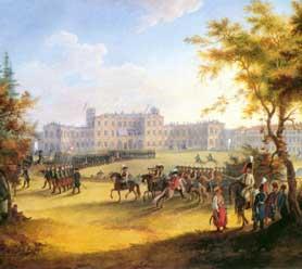 Художник Г. Сергеев, «Парад на плацу перед Гатчинским дворцом», 1798