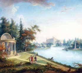 Художник Г. Сергеев, «Вид на павильон Орла и Гатчинский дворец», 1798