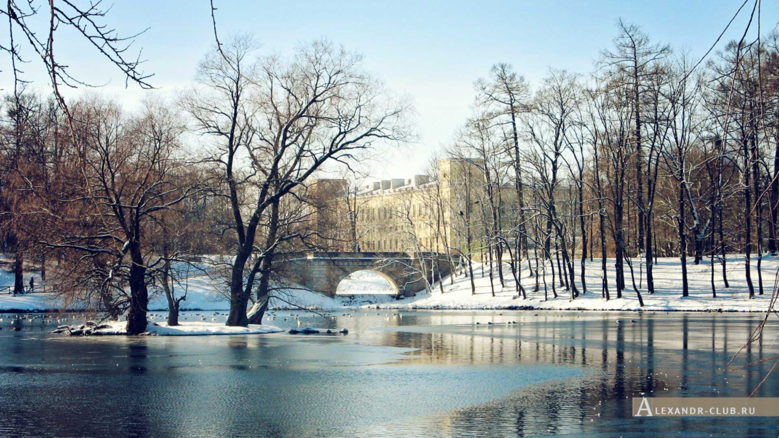 Вид на Карпин мост и дворец со стороны Белого озера, Гатчинский парк