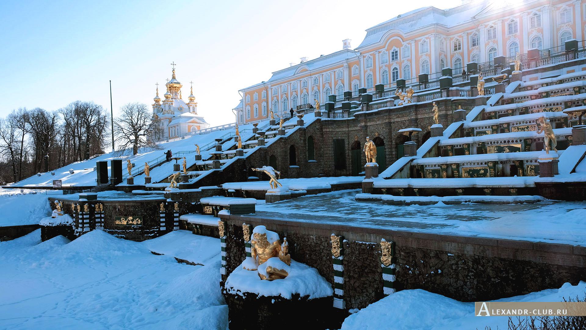 Петергоф, зима, Нижний парк, Большой каскад и Большой петергофский дворец – 4