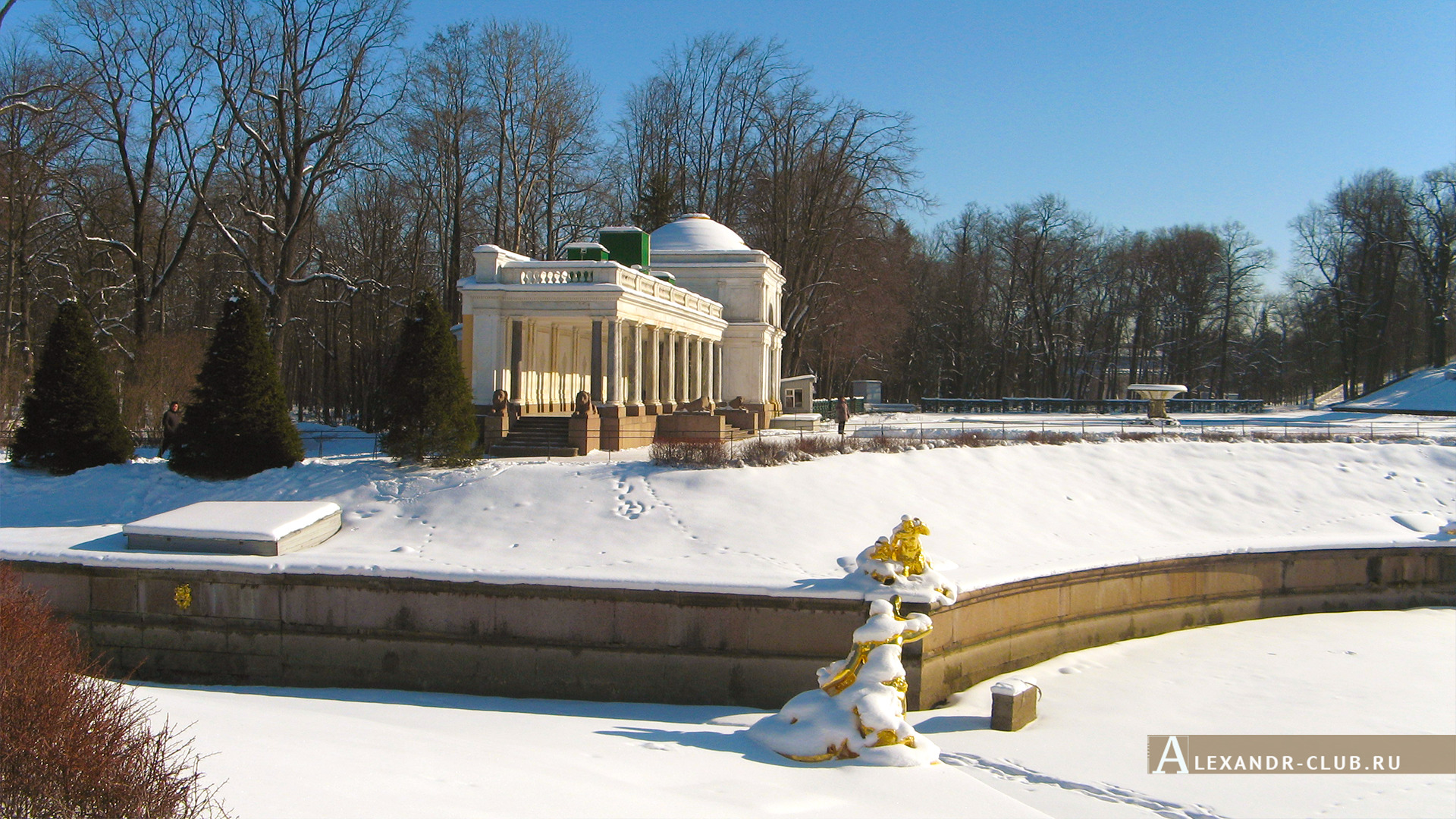 Петергоф, зима, Нижний парк, Воронихинские колоннады – 1