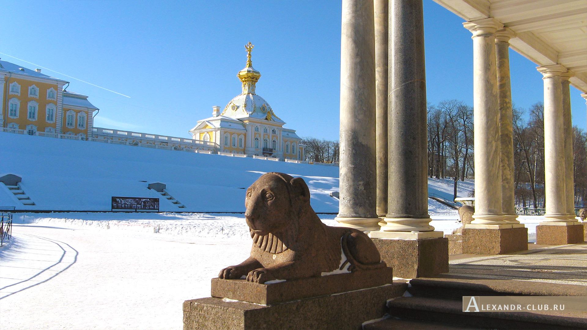 Петергоф, зима, Воронихинские колоннады и «Корпус под Гербом» – 2