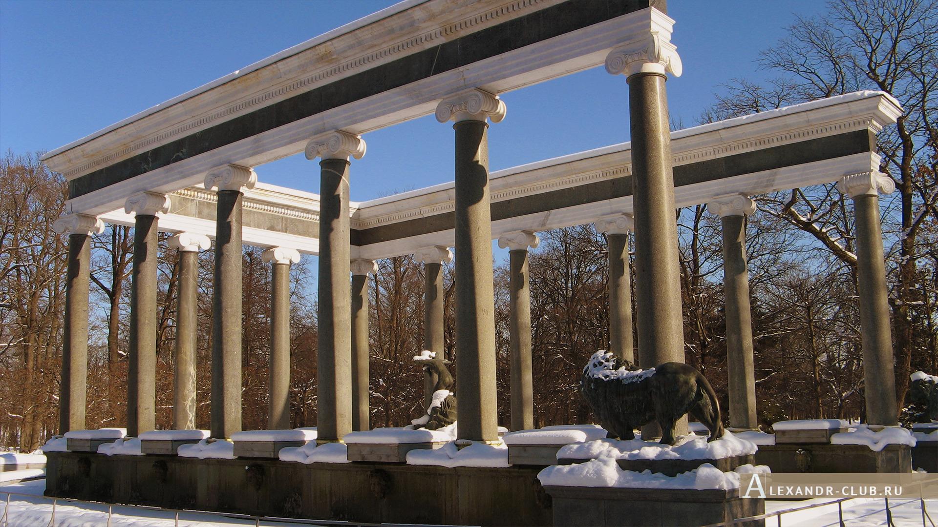 Петергоф, зима, Нижний парк, фонтан «Львиный каскад» – 2
