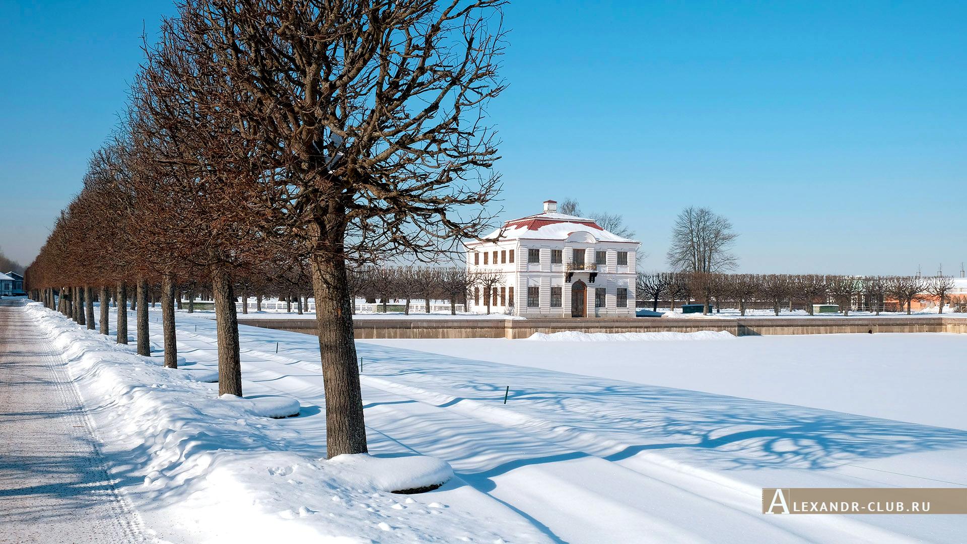 Петергоф, зима, Нижний парк, Марлинский пруд и дворец Марли – 2