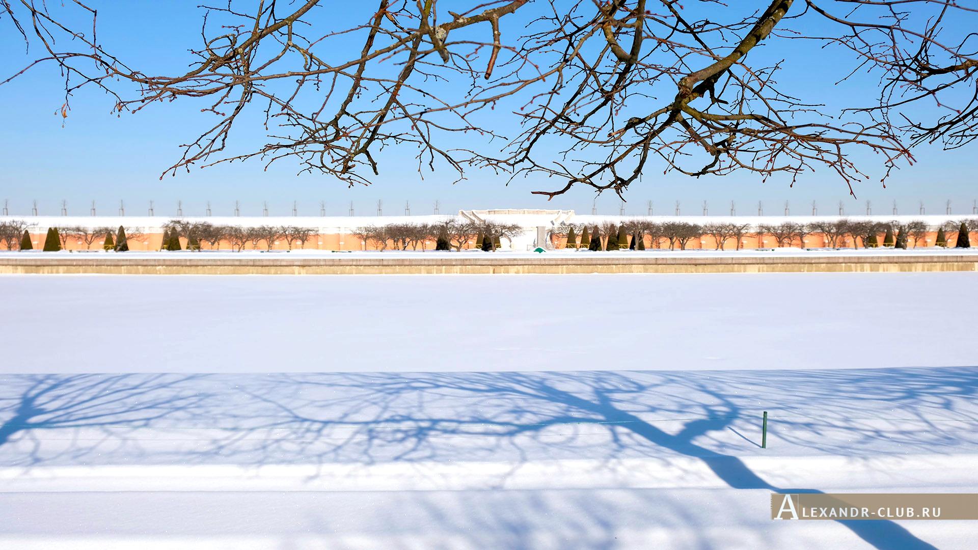 Петергоф, зима, Нижний парк, Марлинский пруд и Марлинский вал – 1