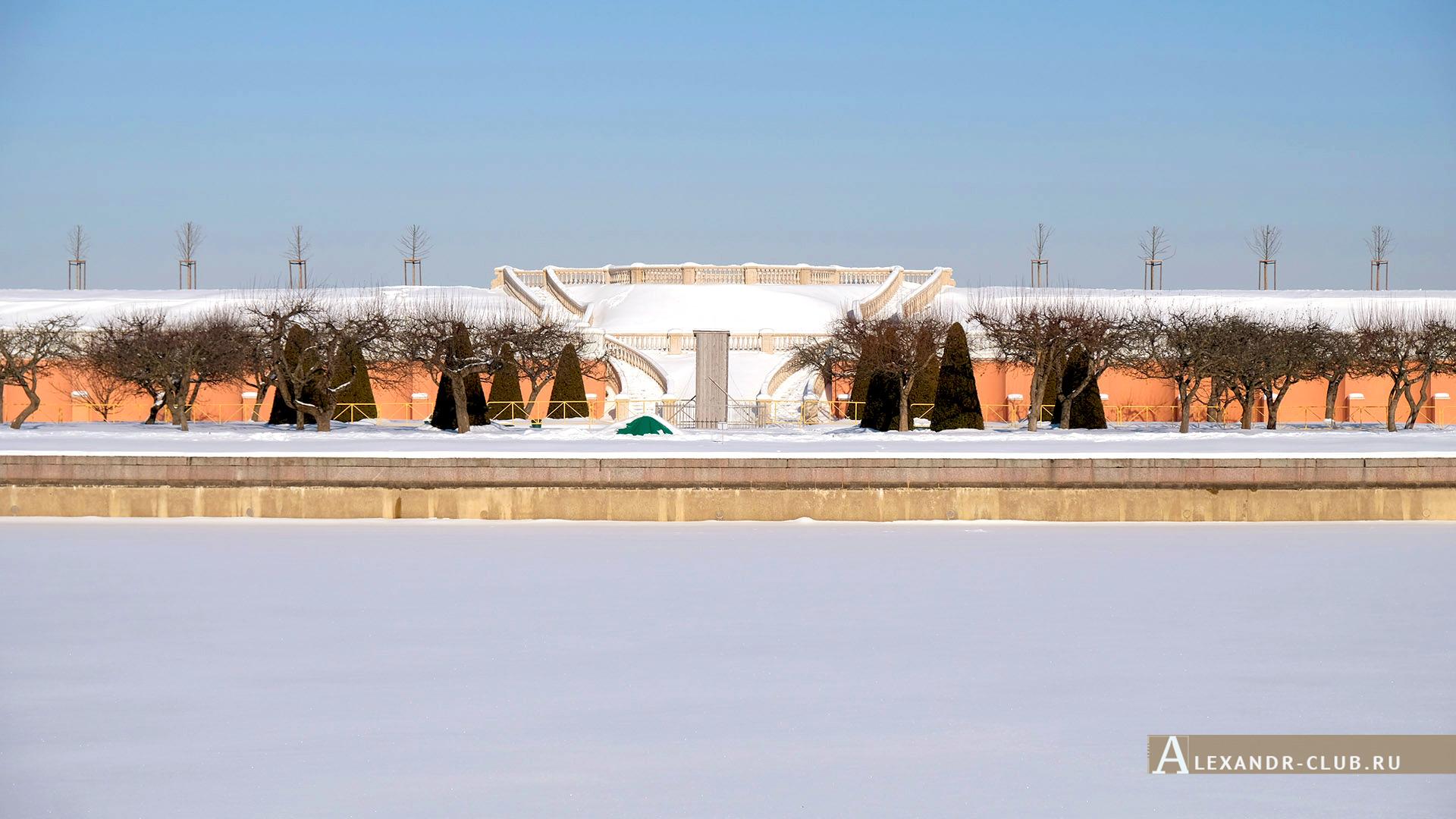 Петергоф, зима, Нижний парк, Марлинский пруд и Марлинский вал – 2