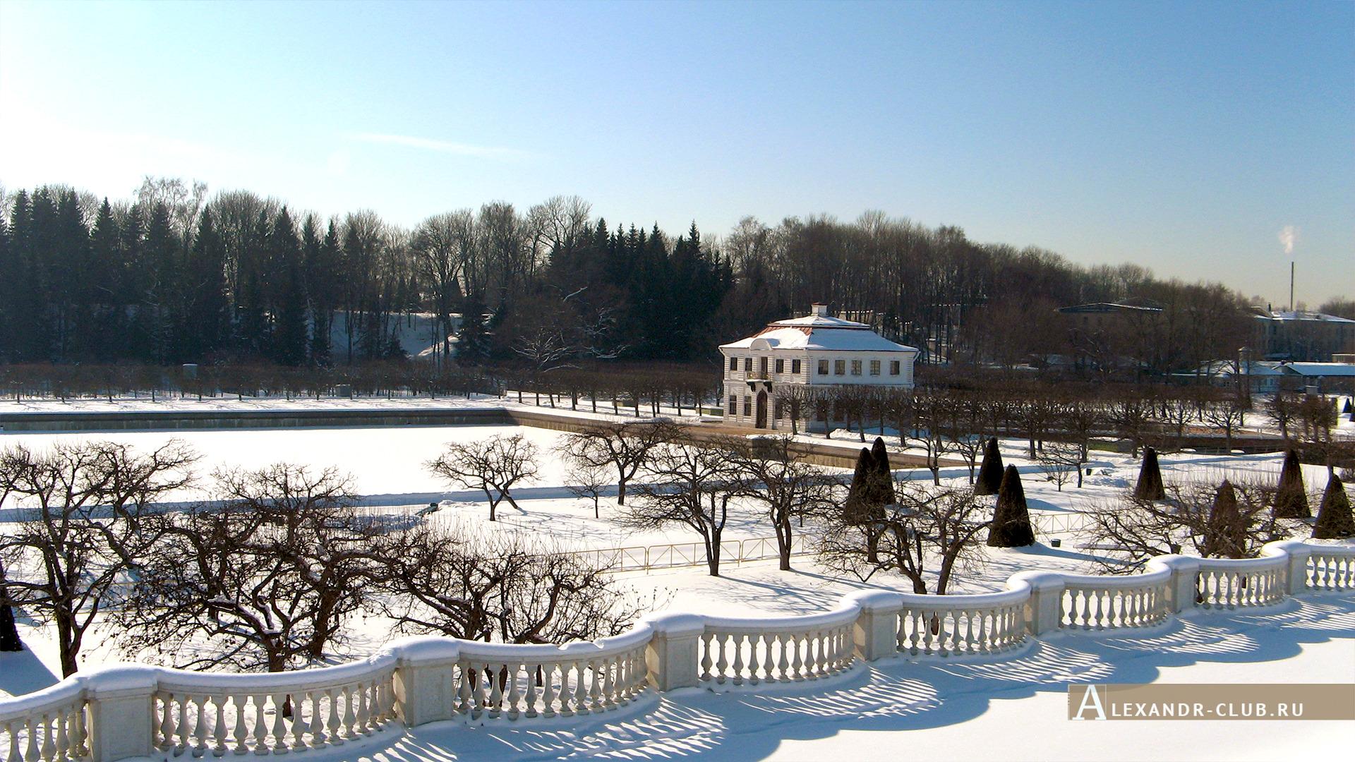 Петергоф, зима, Нижний парк, Марлинский пруд и дворец Марли – 3