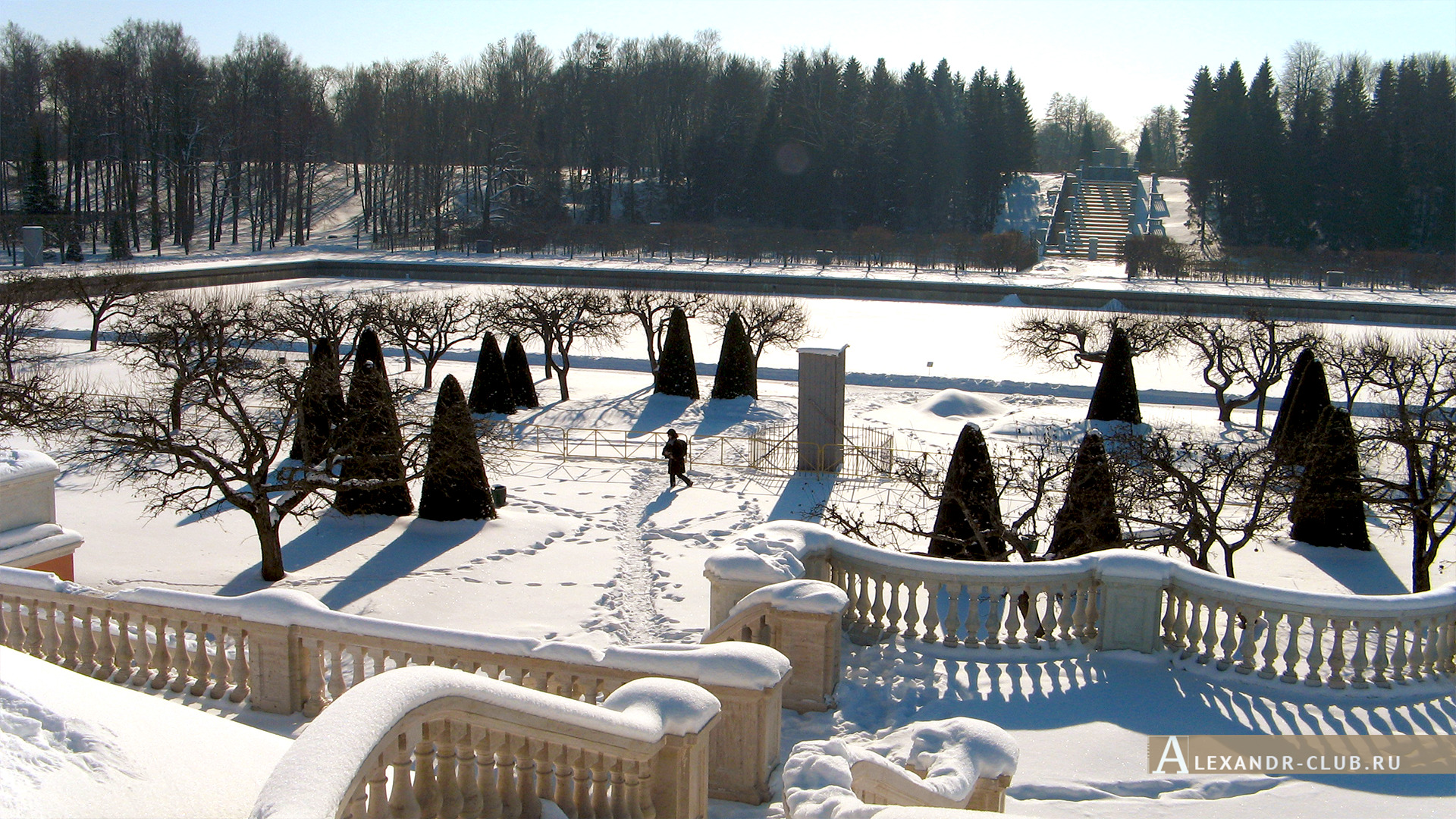 Петергоф, зима, Нижний парк, Марлинский пруд