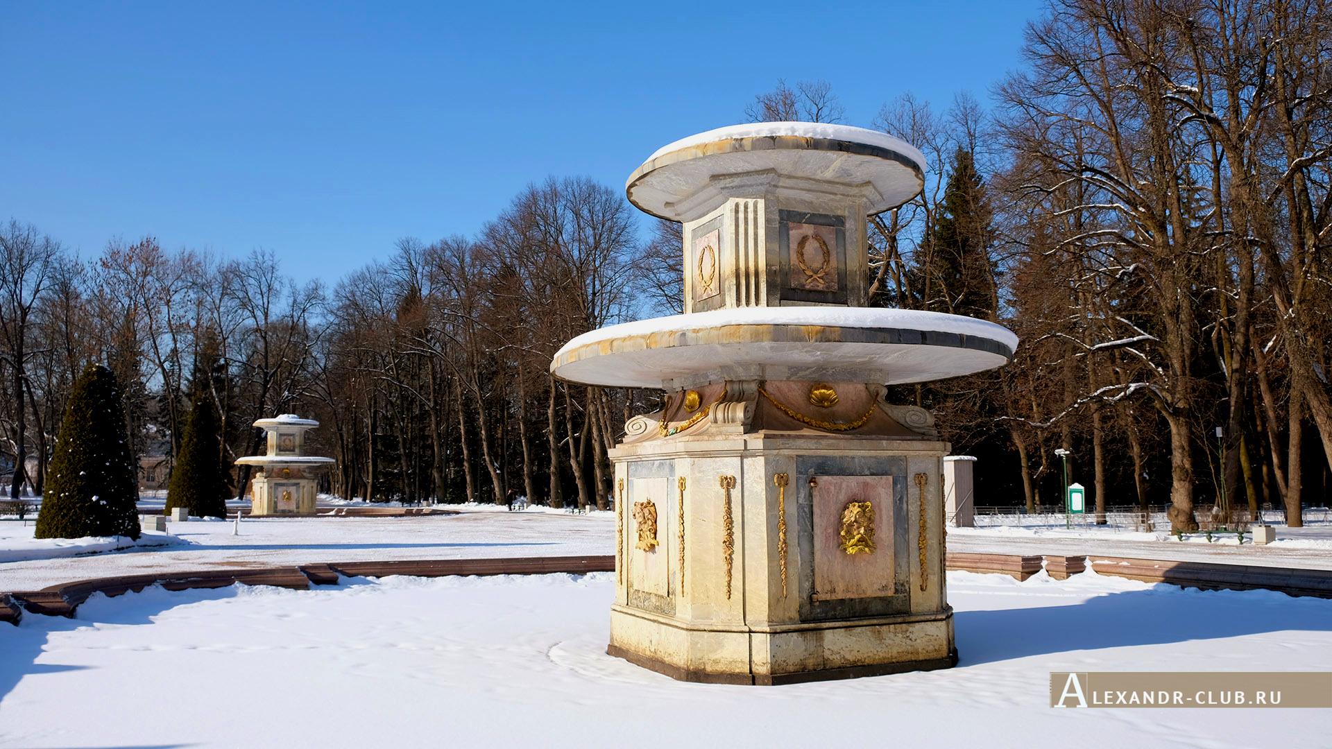 Петергоф, зима, Нижний парк, Римские фонтаны