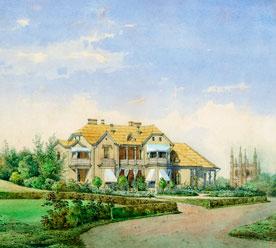 «Петергоф, парк «Александрия», Фермерский дворец», акварель, XIX-й век