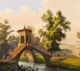 «Дворец в Царском Селе, с китайского моста», литография С. Шульца