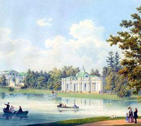 Беземан Адольф «Камеронова галерея и грот на берегу Царскосельского пруда», 1847 г.