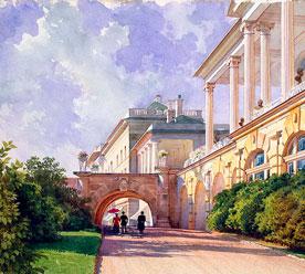 Премацци Луиджи «Пейзаж с Камероновой галереей и Зубовским корпусом». Середина XIX в.