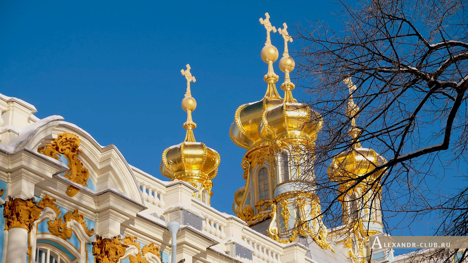 Царское Село, зима, Екатерининский парк, купола церкви Воскресения Христова