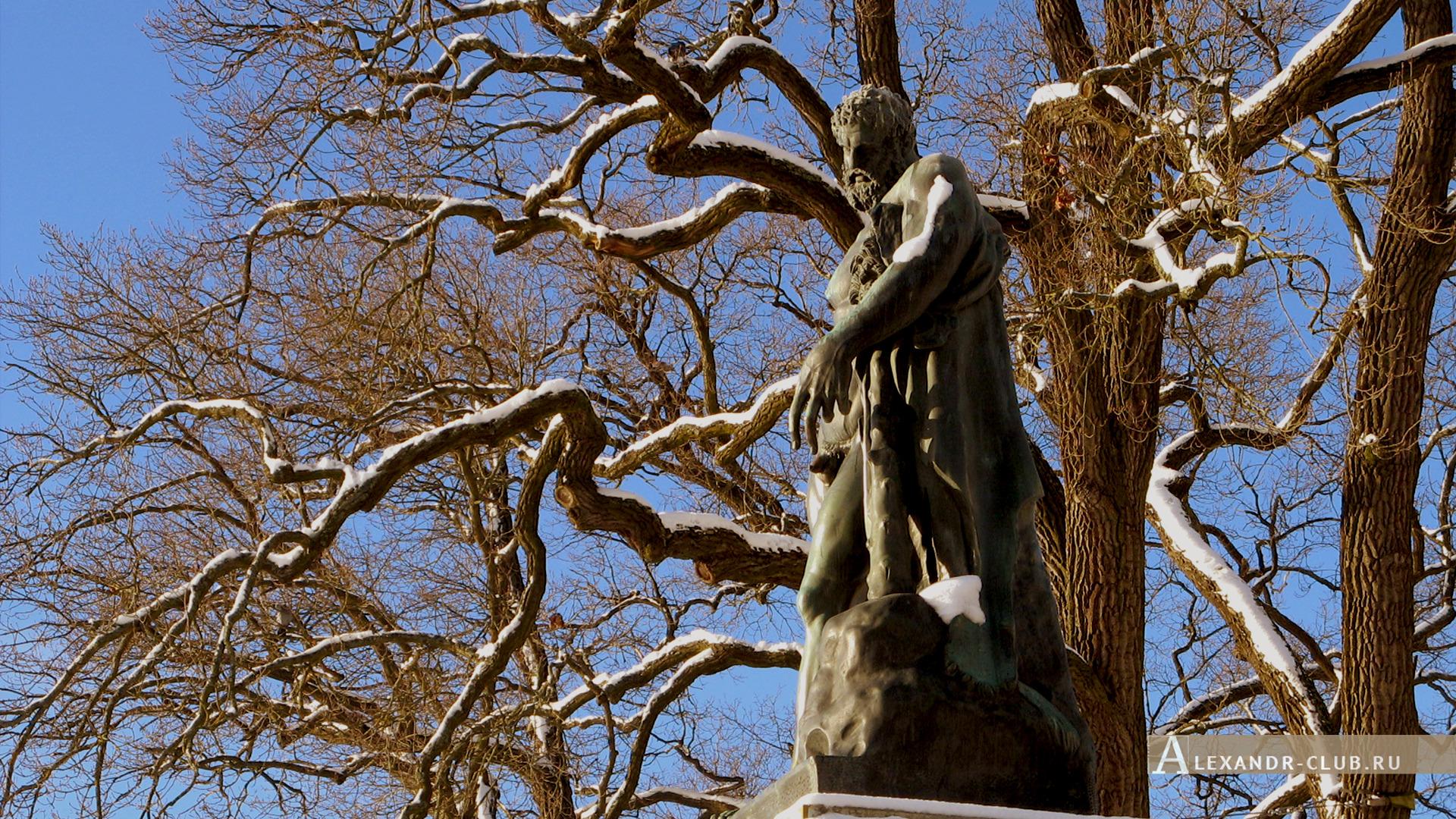 Царское Село, зима, Екатерининский парк, статуя Геркулеса Фарнезского