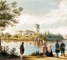«Петергоф, Ольгин пруд, Царицын павильон», неизвестный художник, XIX-й век