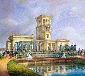 «Луговой парк, Розовый павильон», акварель Луиджи Премацци, 1850 г.