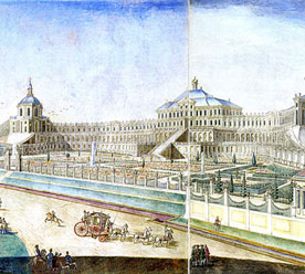 Филипп Внуков и Никита Челноков по рисунку Михаила Махаева – «Проспект Большого дворца в Ораниенбауме», акварель, между 1756 и 1761 гг.