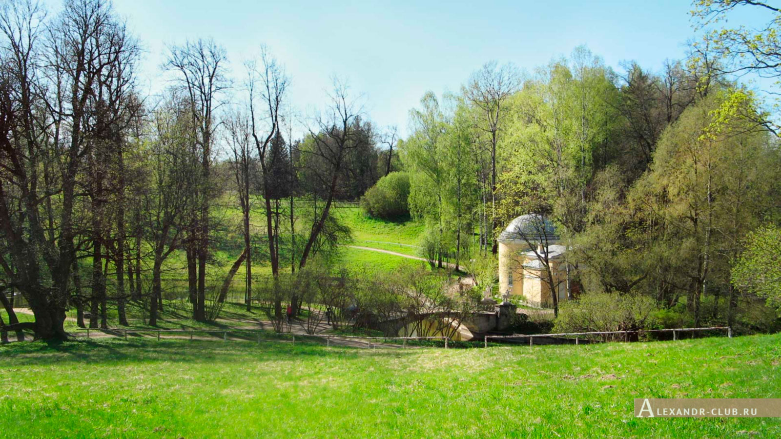 Павловский парк, весна, вид от дворца на Мост Кентавров и Холодную баню – 1