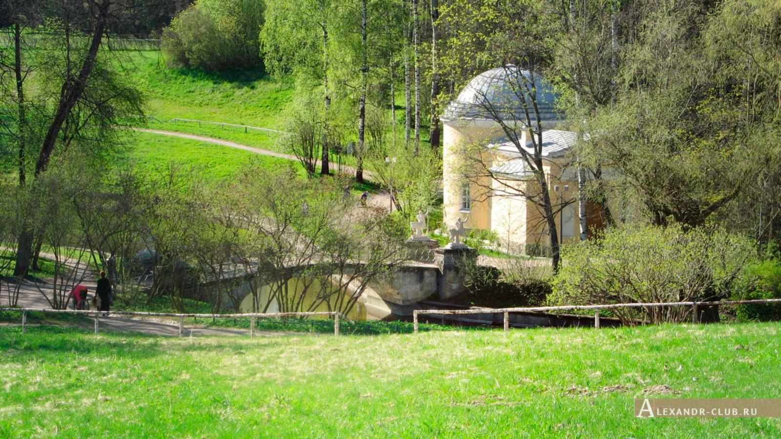 Павловский парк, весна, вид от дворца на Мост Кентавров и Холодную баню – 2