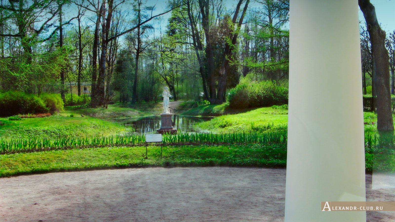 Павловский парк, весна, вид на статую Венеры Италийской со стороны Вольера