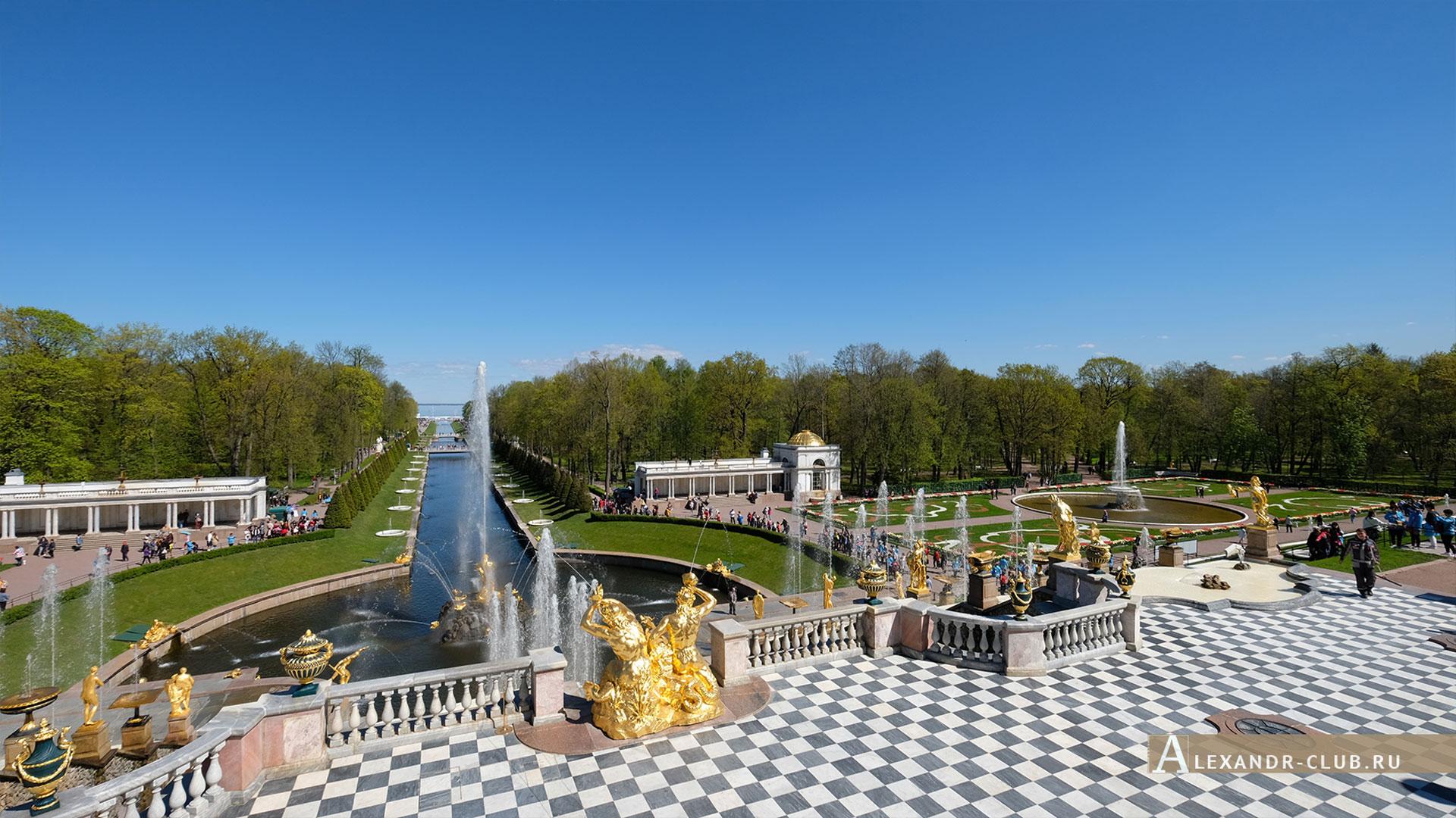 Петергоф, весна, Нижний парк, фонтан «Большой каскад»
