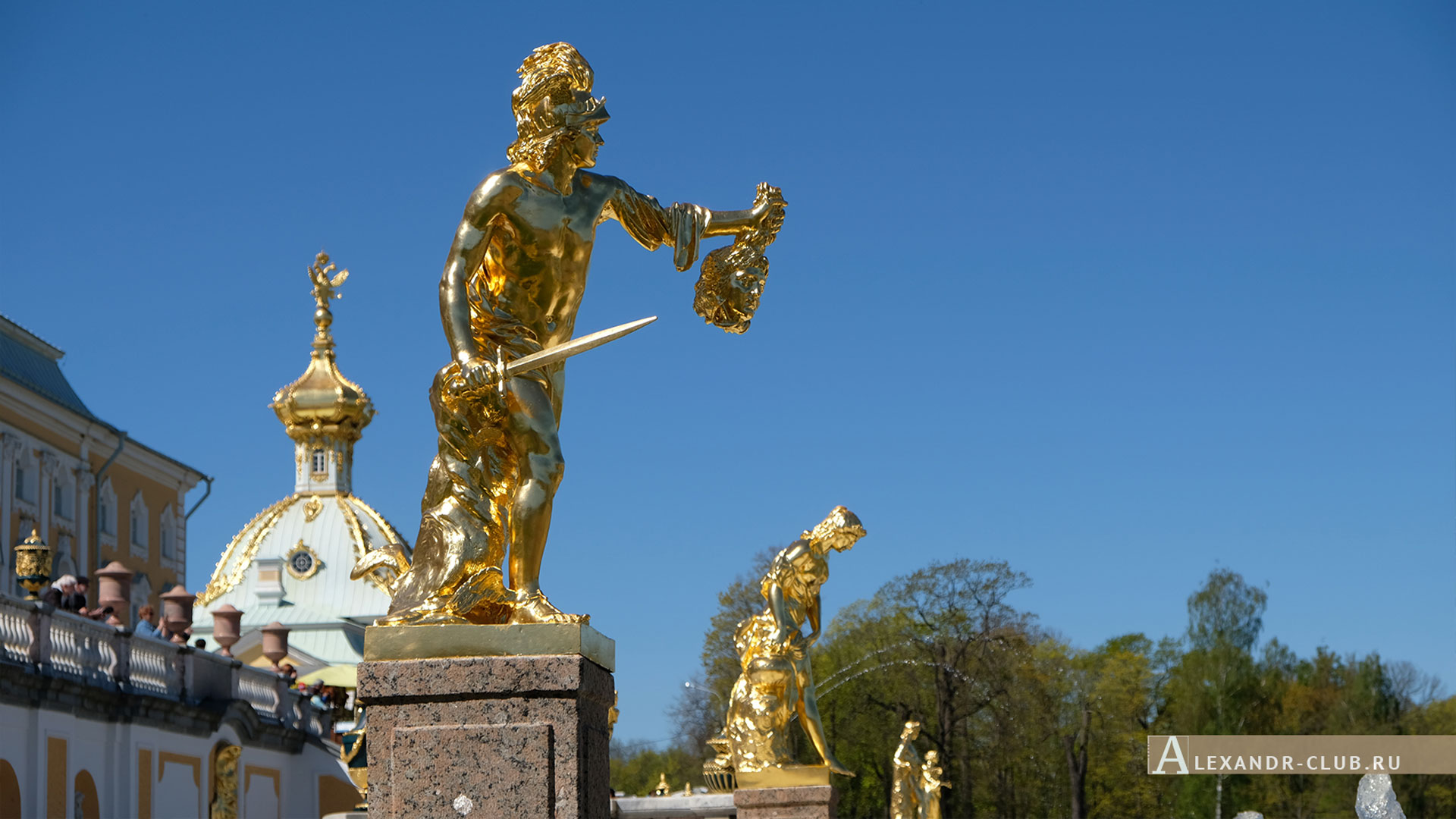 Петергоф, весна, Нижний парк, фонтан «Большой каскад», Персей