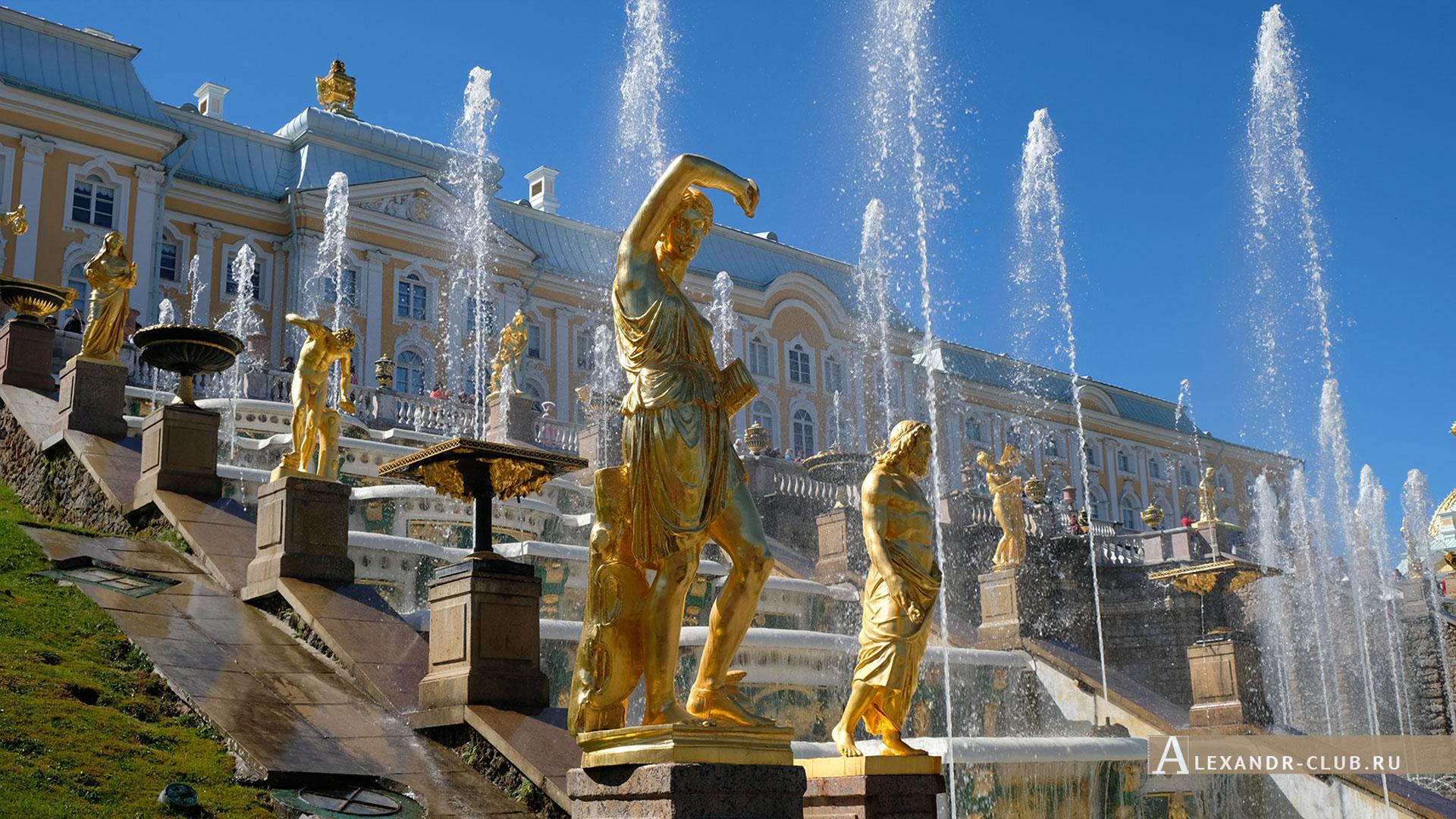 Петергоф, весна, Нижний парк, фонтан «Большой каскад», Большой петергофский дворец