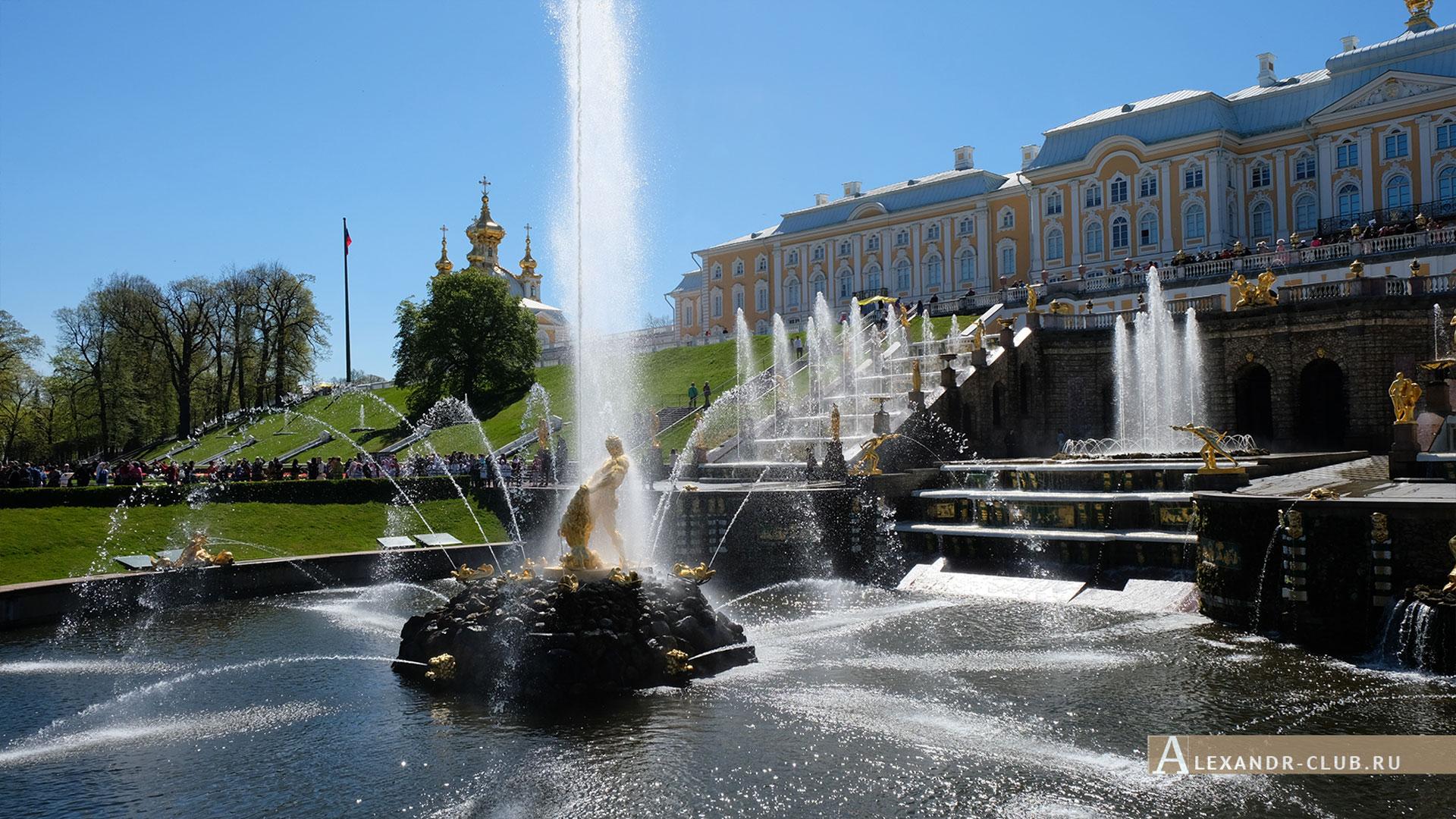 Петергоф, весна, Нижний парк, фонтан «Большой каскад», фонтан «Самсон», Большой петергофский дворец