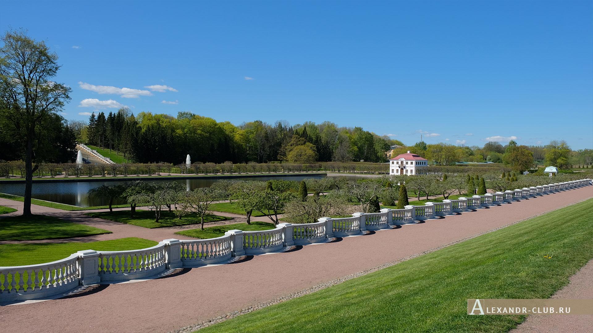 Петергоф, весна, Нижний парк, Марлинский вал, дворец Марли, каскад «Золотая гора»
