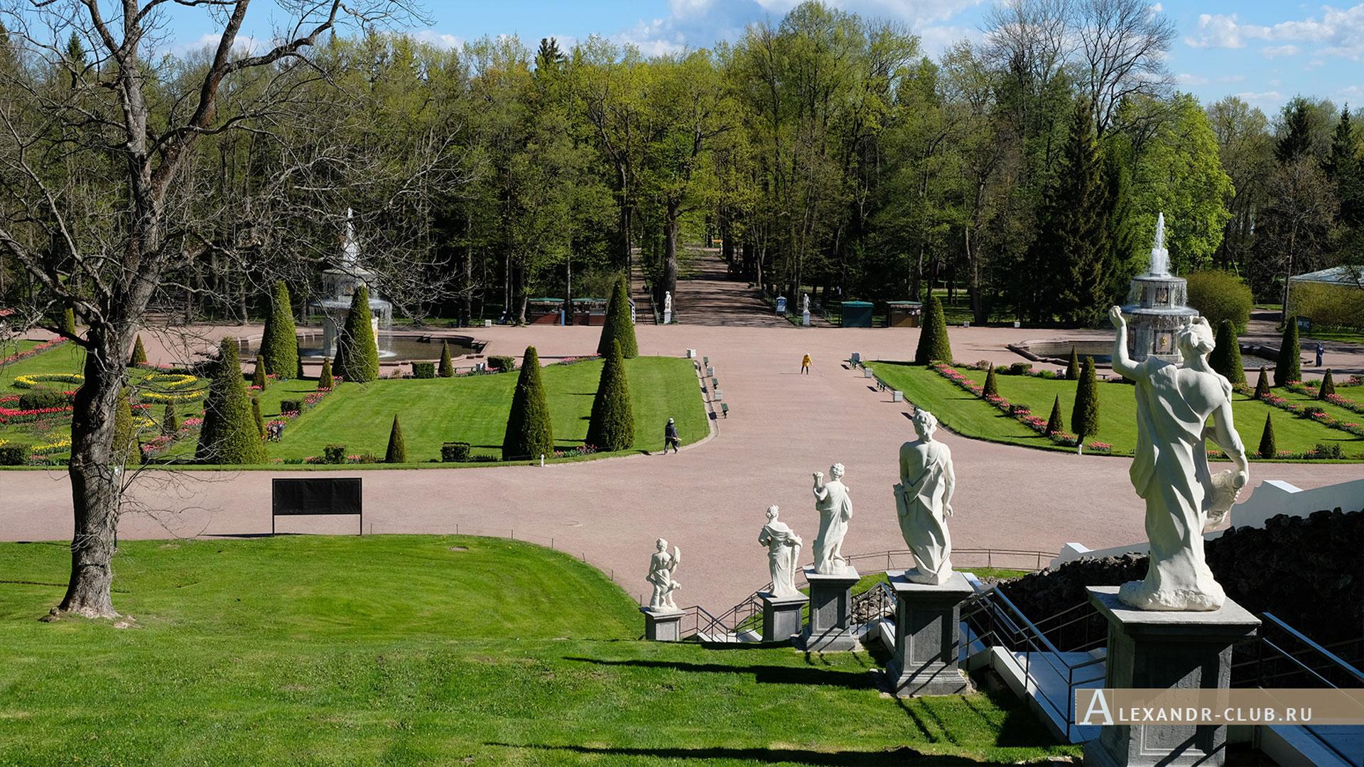 Петергоф, весна, Нижний парк, каскад «Шахматная гора», фонтаны «Римские»