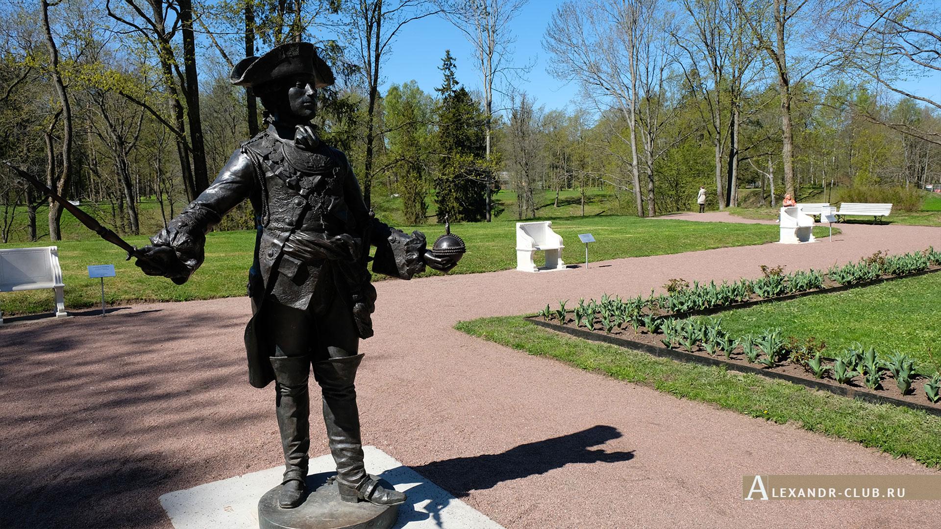 Ораниенбаум, весна, статуя Петра III