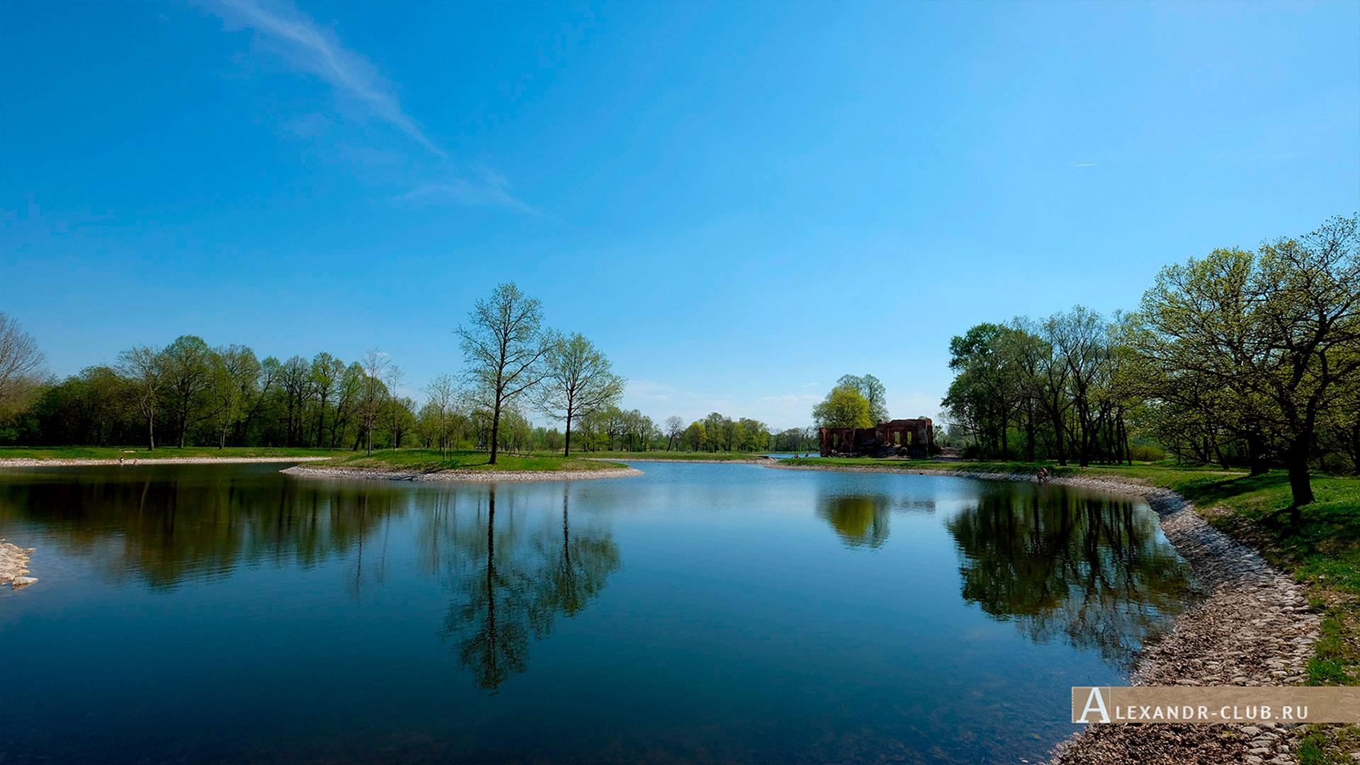 Петергоф, Луговой парк, весна, Малый Круглый пруд