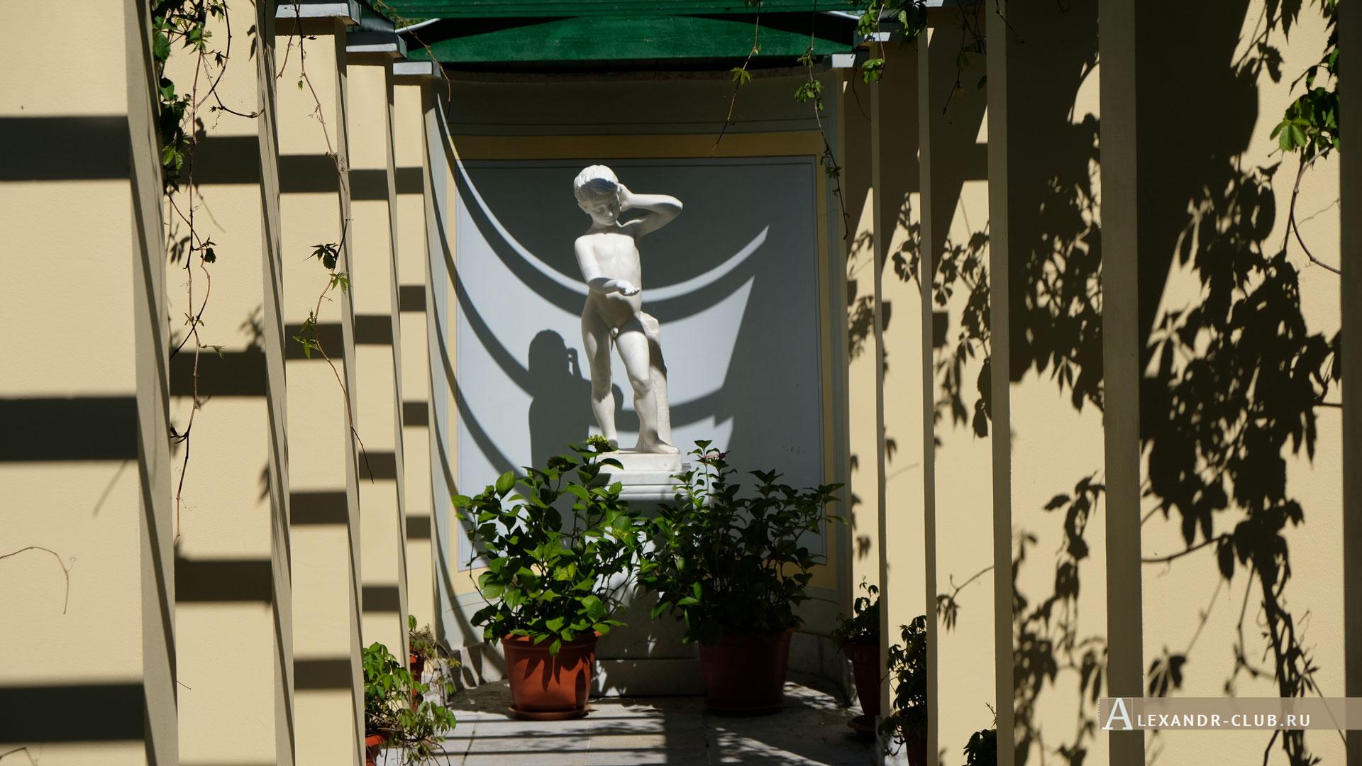 Петергоф, Колонистский парк, лето, Царицын павильон, пергола, «Мальчик, просящий милостыню»