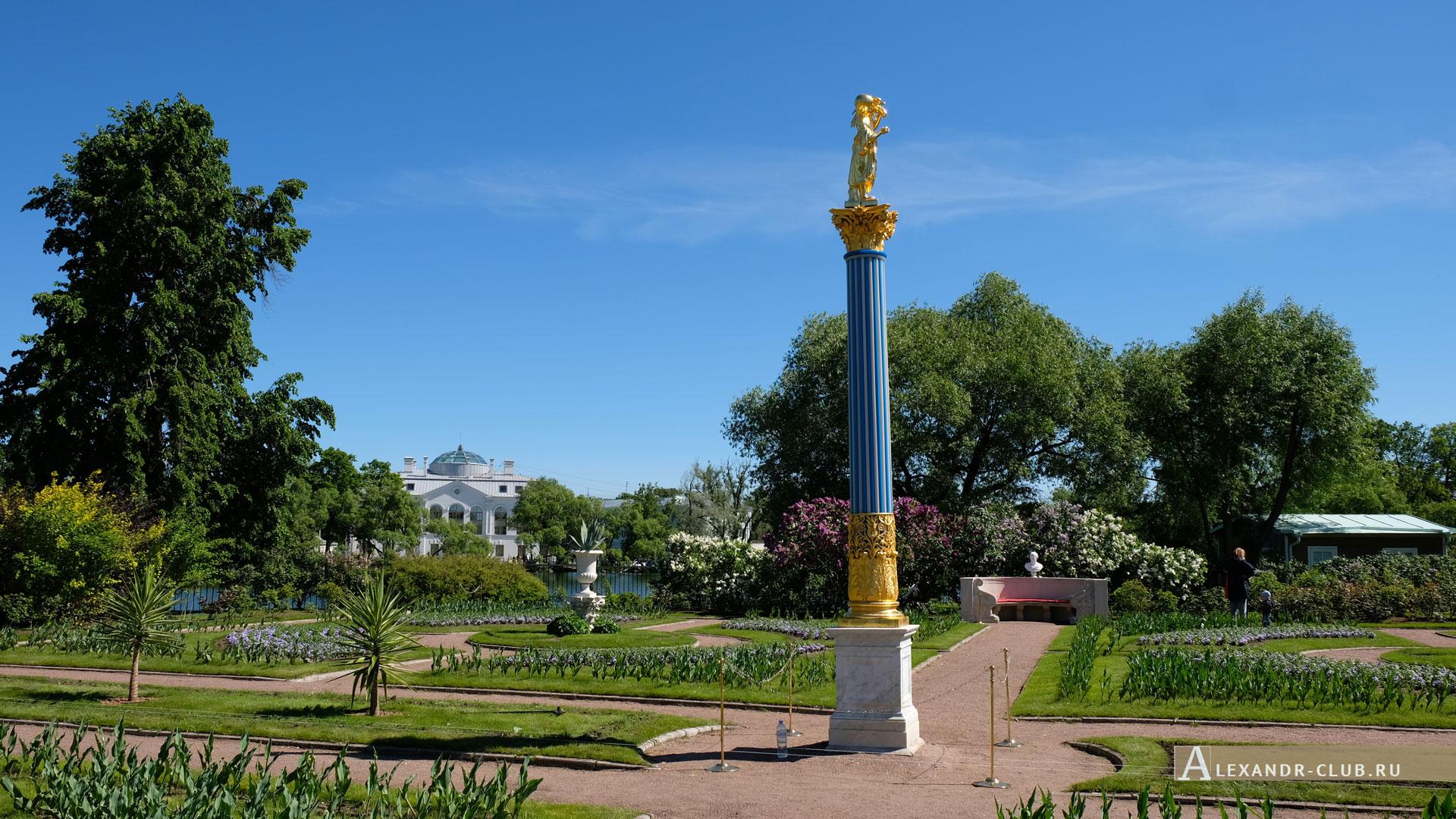 Петергоф, Колонистский парк, лето, Царицын павильон, сад, стеклянная колонна