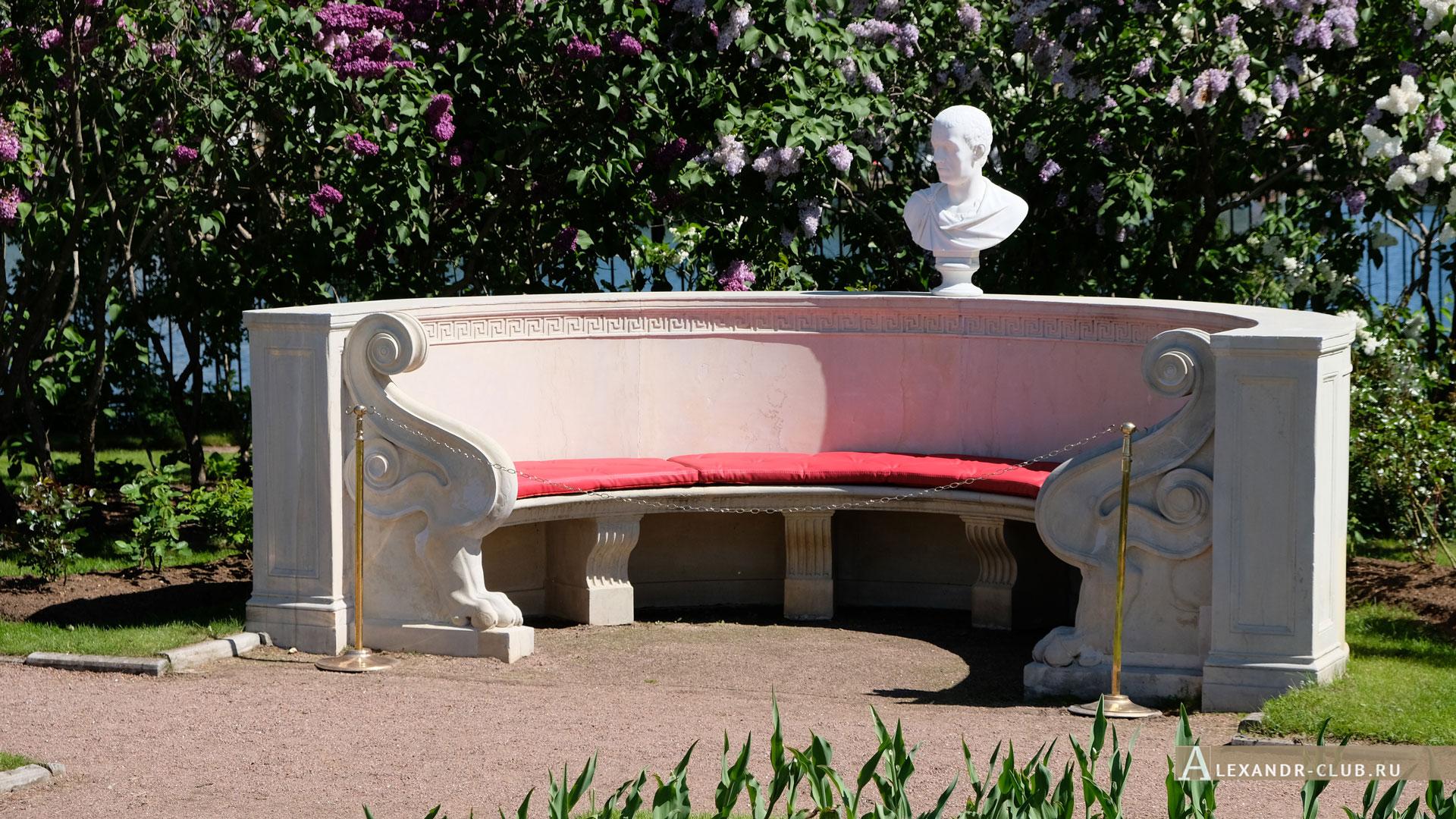 Петергоф, Колонистский парк, лето, Царицын павильон, сад, Мраморная скамья