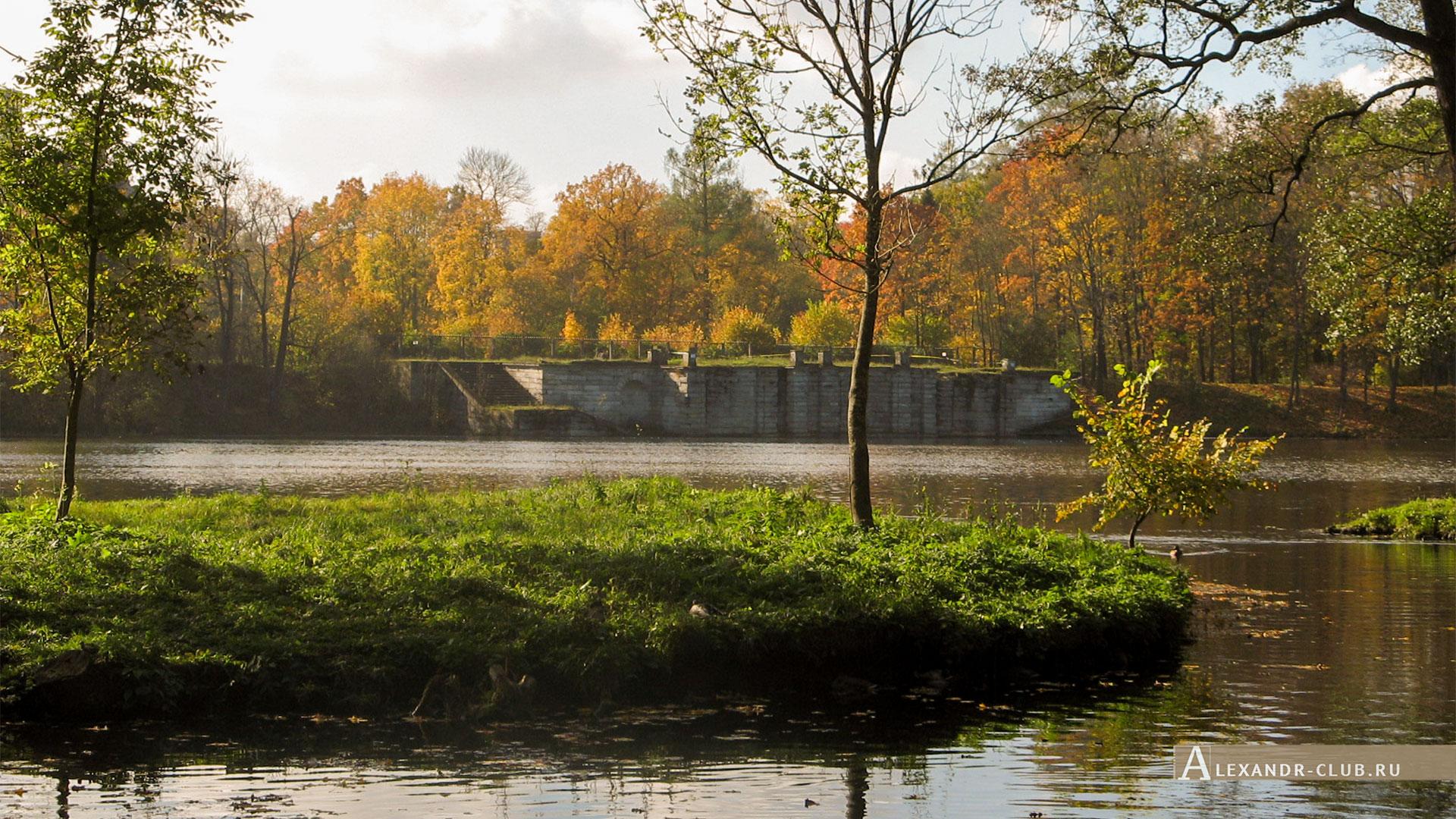 Гатчина, Гатчинский парк, осень, Белое озеро и Большая терраса-пристань