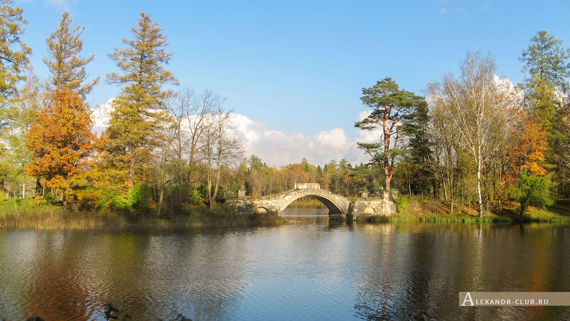 Гатчина, Гатчинский парк, осень, Горбатый мост