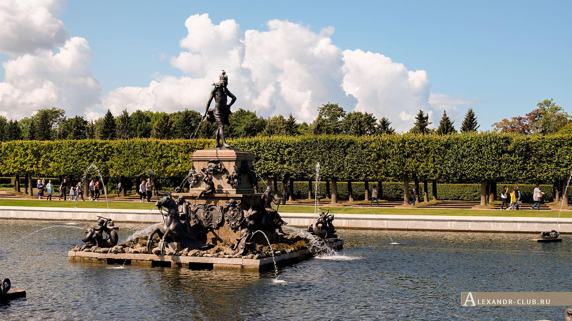 Петергоф, лето, Верхний сад, фонтан «Нептун»