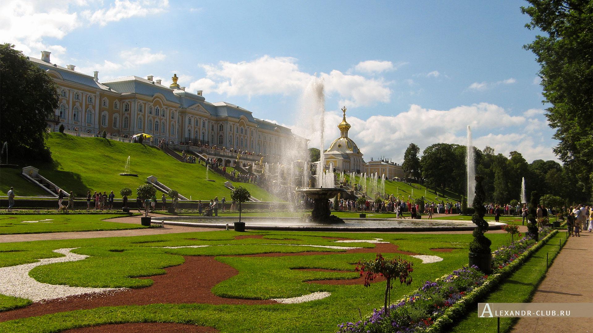 Петергоф, лето, Нижний парк, фонтан «Большой каскад», Большой петергофский дворец