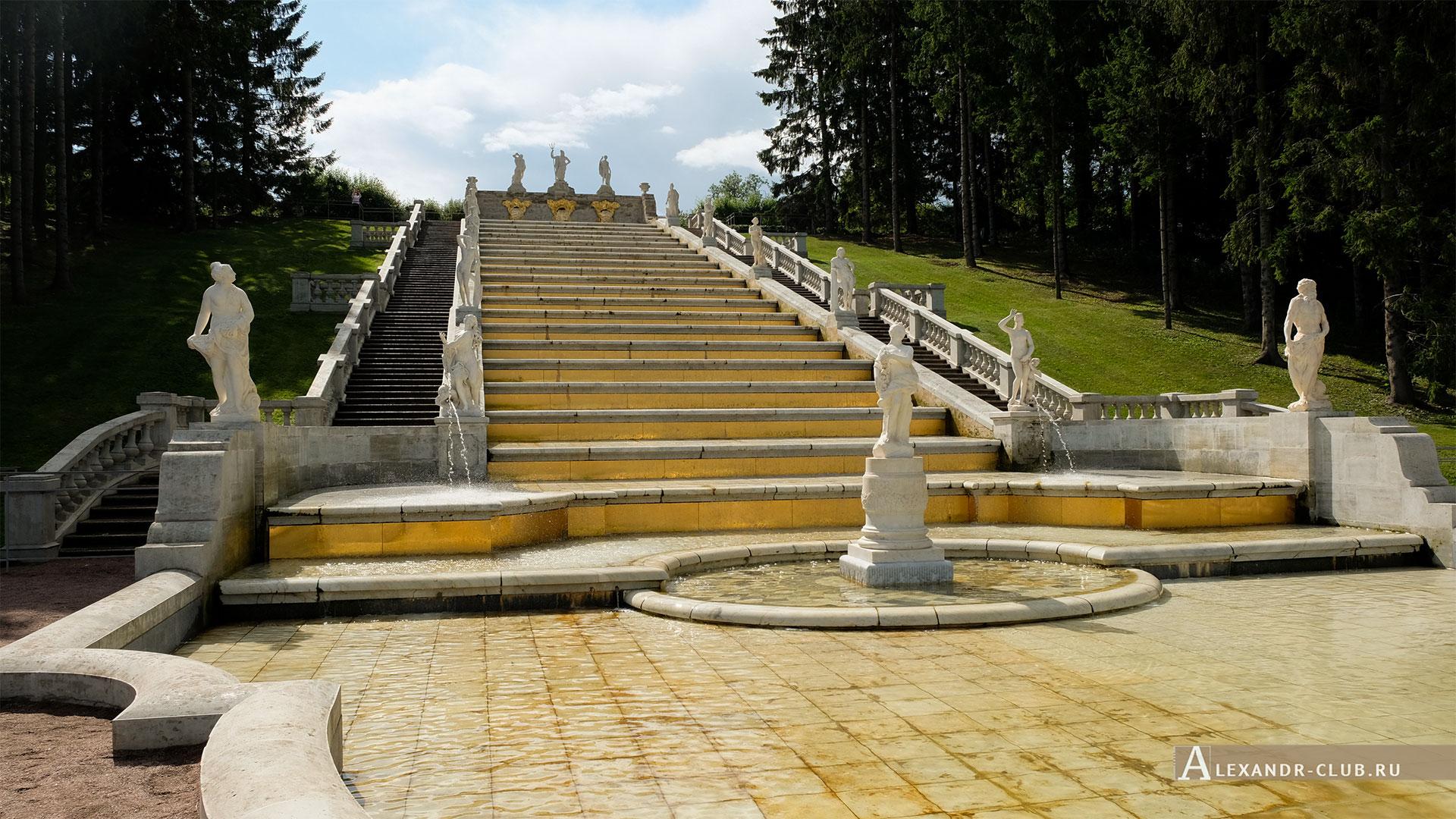 Петергоф, лето, Нижний парк, каскад «Золотая гора»
