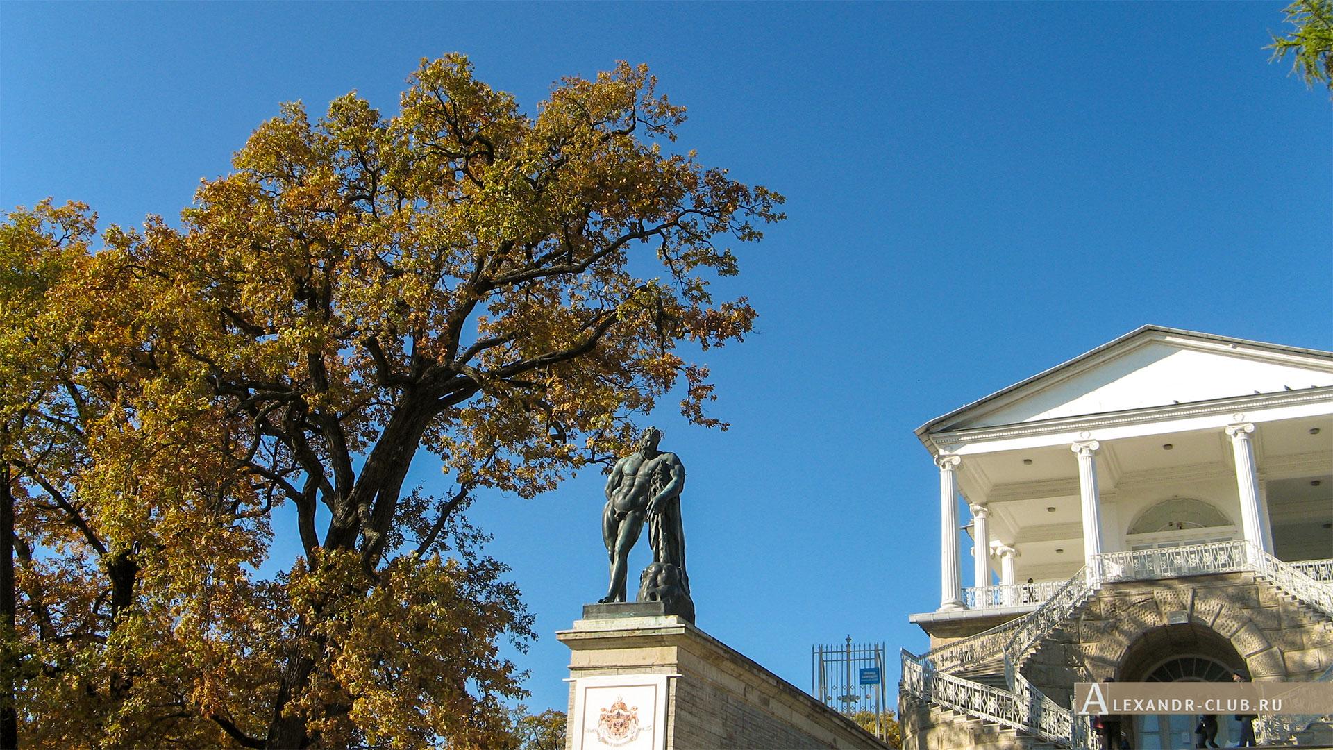 Царское Село, осень, Екатерининский парк, Камеронова галерея, статуя Геркулес Фарнезский