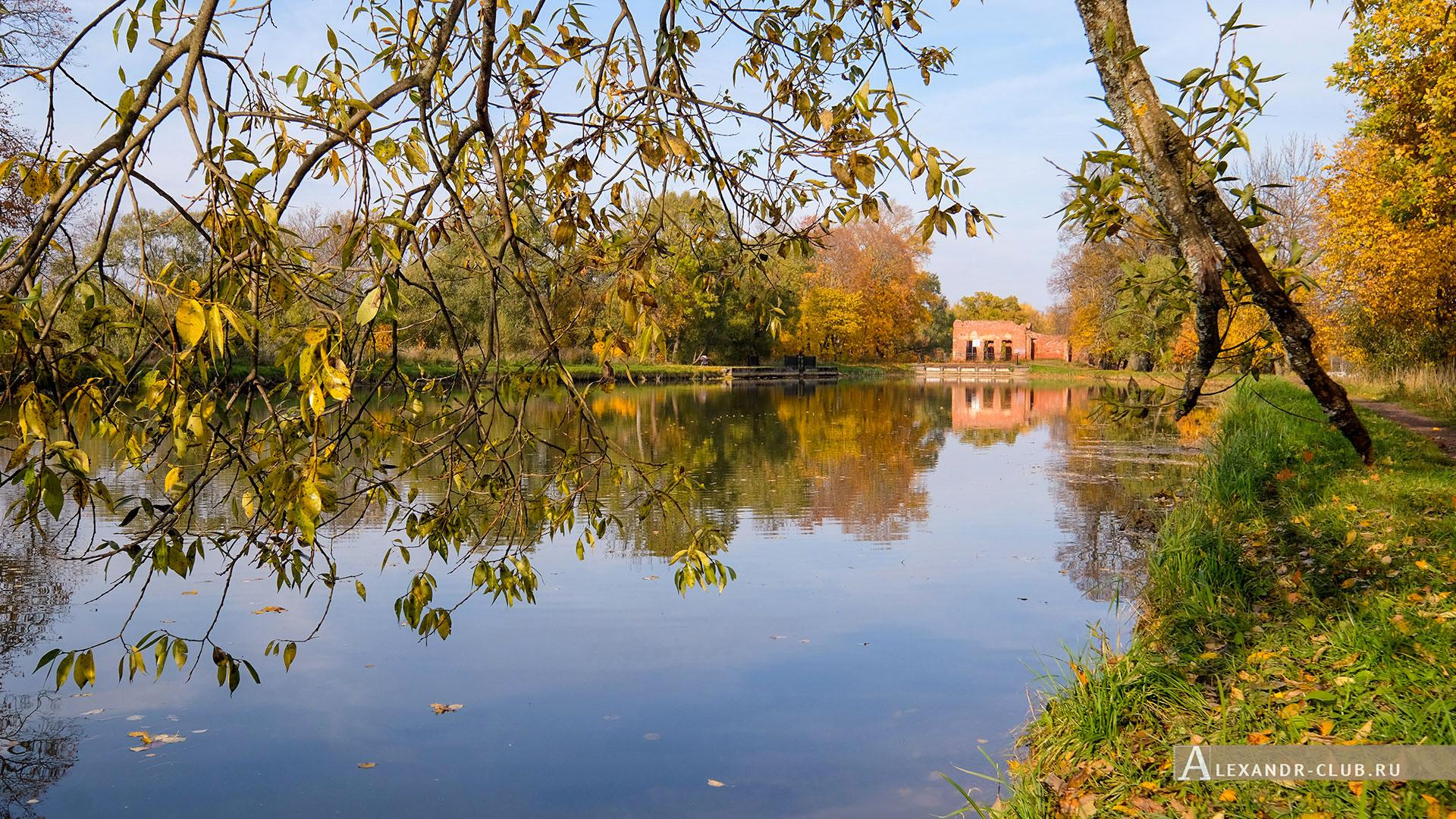 Петергоф, Луговой парк, осень, Старопетергофский канал и Розовый павильон