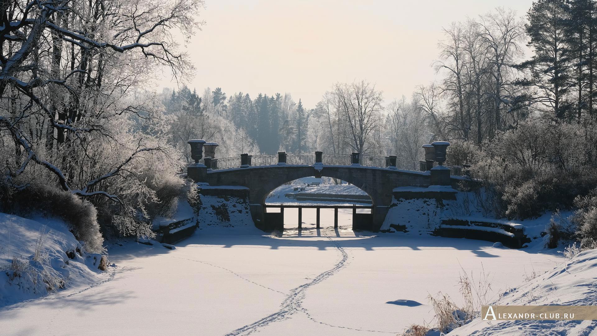 Павловск, зима, Павловский парк, Висконтиев мост