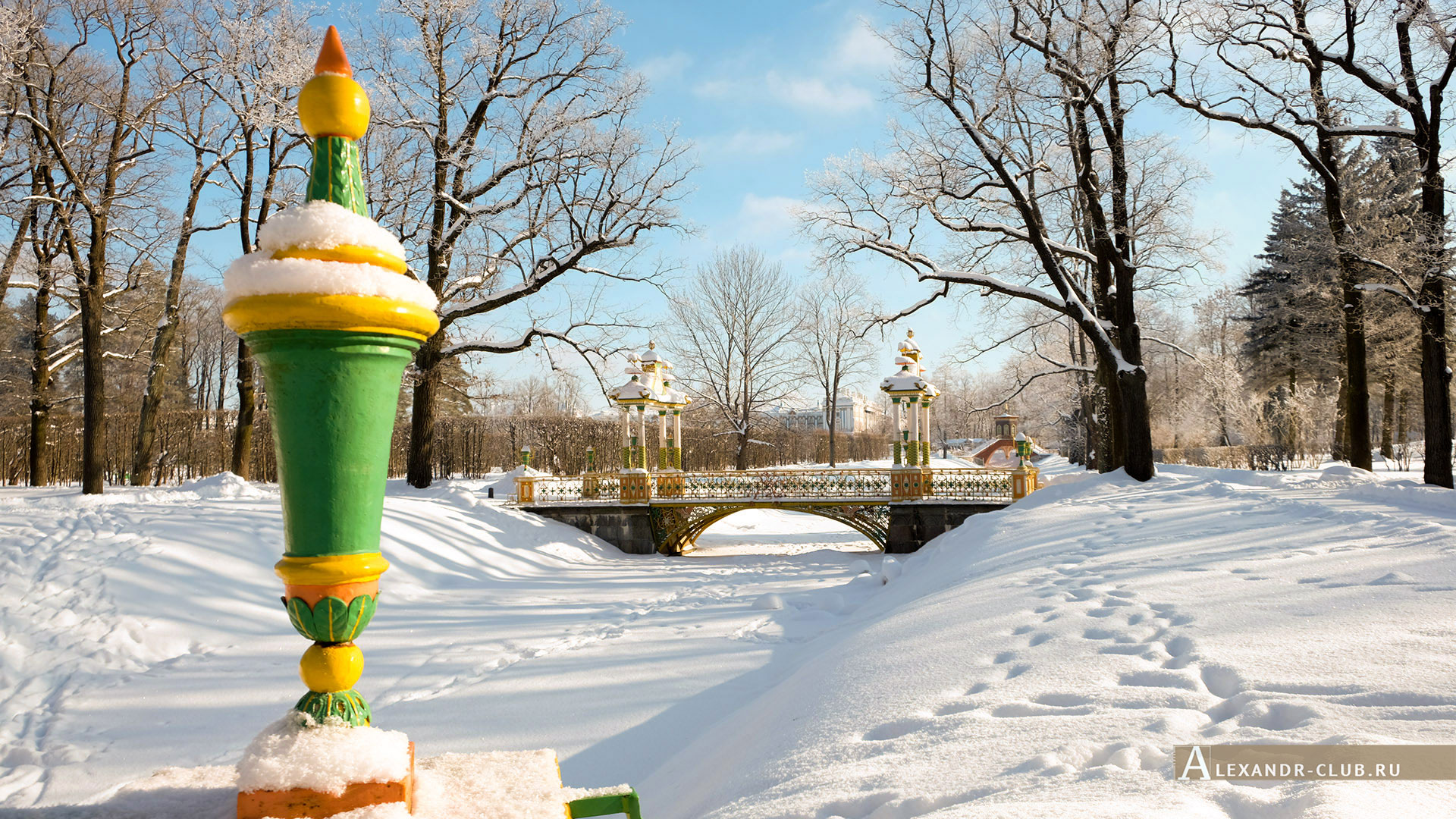 Пушкин, Царское Село, зима, Александровский парк, Китайские мостики