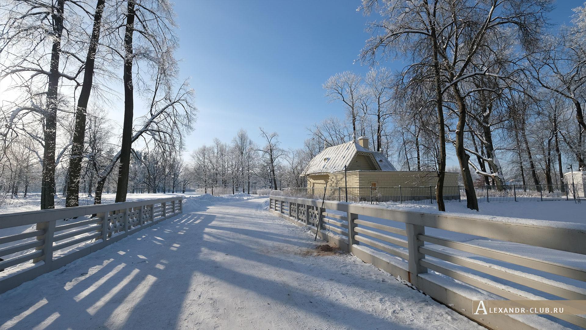 Петергоф, зима, парк «Александрия», Фельдъегерский домик