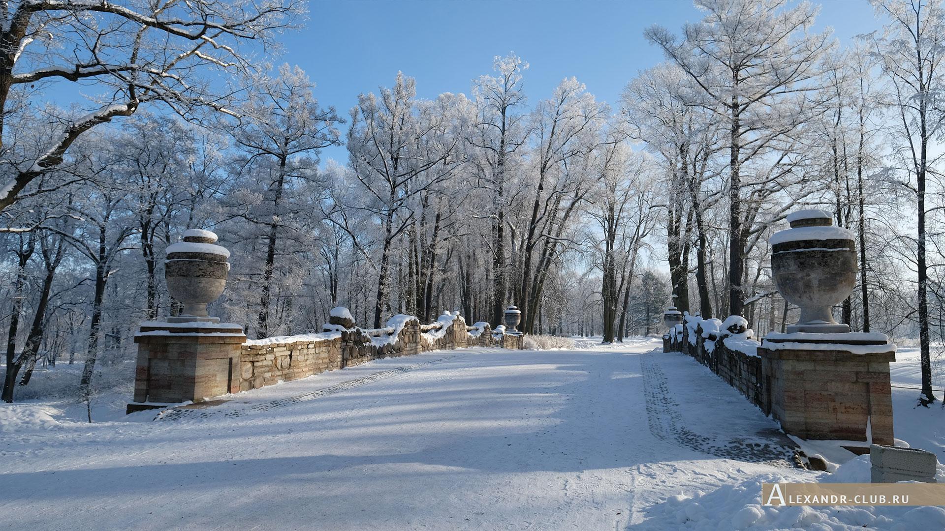 Петергоф, зима, парк «Александрия», Руинный мост